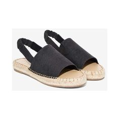 Coconuts by Matisse Darling Slingback Espadrille (£54) ❤ liked on Polyvore featuring shoes, sandals, black, black sandals, black flatform sandals, elastic sandals, black slingback shoes and black open toe sandals