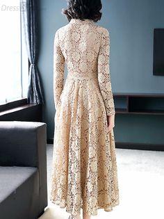 Shop for Size 16 - White & Cream Dresses Dress Brukat, Maxi Dress With Sleeves, Lace Maxi, Dress Lace, Hijab Stile, Short Beach Dresses, A Line Gown, Ladies Dress Design, Women's Fashion Dresses