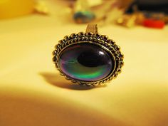 Peacock Colored Adjustable Silver Tone Ring by GiltyGirlVintage, $18.00
