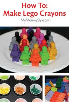 Turn melted crayons into a fun lego crayon party favor for a kid's birthday. | kids crafts Diy Crayons, Melting Crayons, Melted Crayon Crafts, Recycled Crayons, Broken Crayons, Lego Movie Birthday, Birthday Kids, Diy For Kids, Crafts For Kids