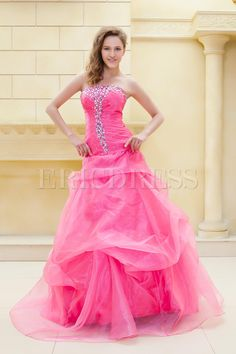 Floor Length Beading Strapless Elas Evening/Ball Gown Dress