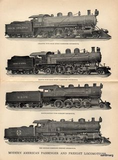1912 Modern American Passenger and Freight Locomotives.