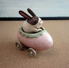 vrrrrrooom. cute little easter bunny in an egg car from Mama Gourds on Etsy