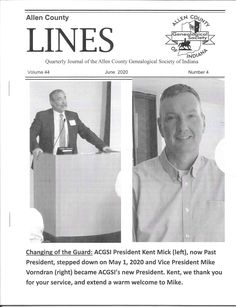 Allen County Lines quarterly periodical from Allen County Genealogical Society of Indiana. County Line, Past Presidents, Family History, Genealogy, Indiana