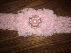 Pink Baby Headband Pink Flower Girl Lace by LittleMissBlingNYC, $9.95