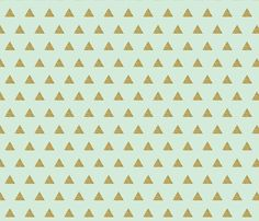 gold glitter v. III triangles on mint fabric by ivieclothco on Spoonflower - custom fabric