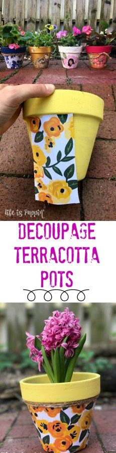 A quick tutorial of how to make these easy and inexpensive decoupage terracotta pots just in time for Mother's Day! Make Mom something extra special this year without breaking the bank! I'm going to show you how to decoupage these terracotta pots into Clay Pot Projects, Clay Pot Crafts, Crafts To Make, Projects To Try, Diy Crafts, Decor Crafts, Flower Pot People, Clay Pot People, Painted Flower Pots