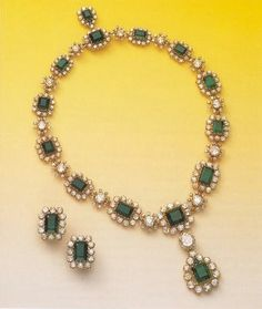 Countess Mona von Bismarck Emerald and Diamond Necklace and Earrings