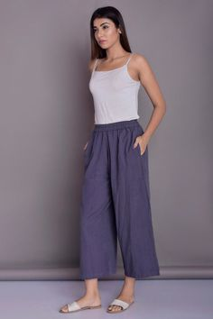 Loose linen pants, Casual Baggy Pants, Grey linen pants - Custom made by Modernmoveboutique