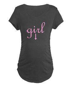 Take a look at this Charcoal 'Girl' Maternity Tee - Women by CafePress on #zulily today!