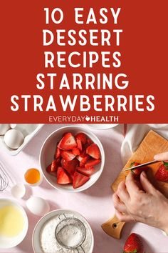 The juicy red fruit brings a taste of summer plus a host of key nutrients to every dish. Here are 10 healthful recipes that call on strawberries to brighten up your desserts. Healthy Food To Lose Weight, Healthy Food List, Healthy Meals For Kids, Good Healthy Recipes, Healthy Baking, Healthy Snacks, Snack Recipes, Dessert Recipes, Strawberry Oatmeal Bars