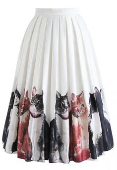 Wildcat Illustration Watercolor Printed Midi Skirt - Skirt - BOTTOMS - Retro, Indie and Unique Fashion Unique Fashion, Fashion Fashion, Led Dress, Chiffon Maxi, Printed Skirts, Models, Floral Maxi, A Line Skirts, Midi Skirt