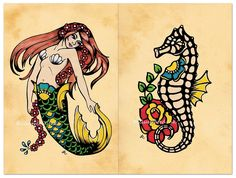 This set of two prints featuring a mermaid and seahorse were inspired by old school tattoo design and my love of all things nautical. These are reproductions of my original art. You can choose a print set that measures 5 x 7, 8 x 10, or 11 x 14. Signed on the back by the artist, and ready to slip into standard sized frames! The watermark logo will not appear on your prints.  *Please note that colors appear different on every computer monitor.* Printed on matte fine art paper which is a high…