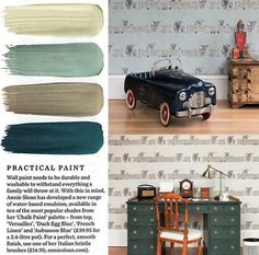 We love these new hard wearing paints by @anniesloanhome - they match up perfectly with both our Highland Fling wallpaper colourways and can withstand family life which is ideal as our Highland cow design is a best seller for studies, bathrooms and children's bedrooms. #wallpaper #wallcoverings #paint #colour #highlandcow #inspiration #interiors #home #interiordesign #homedecor #study #bedroom #bathroom #design