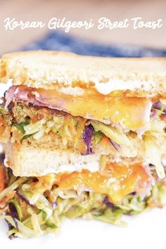 This sandwich has everything you want - fresh, sweet, salty and crunchy!   Korean gilgeori street toast, made with one of Fresh Express slaw kits, so you can save time on chopping.  #korean #toast #freshexpresssalad #sandwich #easymeal Sandwiches, Toast, Easy Meals, Veggies, Korean, Salad, Fresh, Street, Food