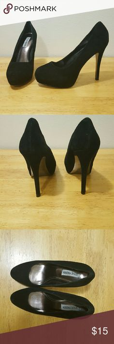 Steve Madden Suede Stilettos Black, suede stilettos with a platform in the front to make them more comfortable. Worn out 3 times, wonderful condition. The heel height is 5 inches and the platform is 1 inch in the front. Steve Madden Shoes Platforms