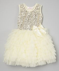 Loving this Cream Sequin Ruffle Dress - Infant, Toddler & Girls on #zulily! #zulilyfinds