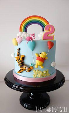 Winnie the pooh cake Meh (Birthday Cake Kids) Sweet Cakes, Cute Cakes, Fondant Cakes, Cupcake Cakes, Winnie The Pooh Cake, Friends Cake, Gateaux Cake, Character Cakes, Disney Cakes
