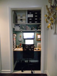Cloffice.  Wisely removed the door and the rest of the door frame for more elbow room!