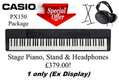 Casio Privia PX-150  *SPECIAL OFFER* *1 ONLY* *Ex Display* The PX-150 is a superb compact and lightweight entry-level piano. The latest Tri-Sensor Scaled Hammer Action Keyboard II, and the unprecedented Privia quality of the new Multi-Dimensional Morphing AiR Sounds Source ensure that this neat model, weighing in at just 11kg (without stand), is ideal for pianists in any room of the house. £379