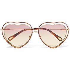 Chloé Poppy Love heart-shaped acetate and gold-tone sunglasses ($455) ❤ liked on Polyvore featuring accessories, eyewear, sunglasses, pink, tortoiseshell sunglasses, pink heart sunglasses, tortoise shell sunglasses, tortoise shell glasses and heart shaped sunglasses