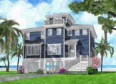 Daybeacon Lane - Coastal Home Plans Coastal House Plans, Beach House Plans, Dream House Plans, Dream Houses, Beach Cottage Decor, Coastal Cottage, Coastal Homes, Coastal Living, Stilt House Plans