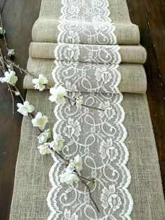 Table runner with ivory lace, rustic chic , romantic or vintage wedding , handmade, $23.00