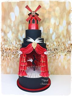 Le moulin rouge cake - cake by Cindy Sauvage Girly Cakes, Fancy Cakes, Cute Cakes, Crazy Cakes, Gorgeous Cakes, Amazing Cakes, Wedding Cake Designs, Wedding Cakes, Fondant Cakes