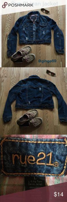 Rue 21 jean jacket 😎 Pre worn factory added tears , super cute and soft. Rue 21 Jackets & Coats Jean Jackets