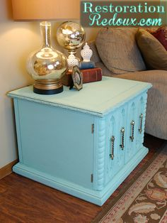 Aqua Chalky Painted Table - Top 60 Furniture Makeover DIY Projects and Negotiation Secrets