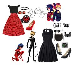 """Lady Bug and Chat Noir"" by pandamestas on Polyvore featuring SUSU, Charles David and STELLA McCARTNEY"
