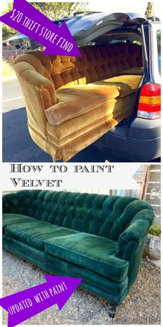 How to paint upholstery, keep the soft texture of the fabric, even velvet! How to paint upholstery, keep the soft texture of the fabric, even velvet! Painting Fabric Furniture, Paint Furniture, Upholstered Furniture, Furniture Projects, Furniture Makeover, Coaster Furniture, Funky Furniture, Chalk Paint Chairs, Furniture Design