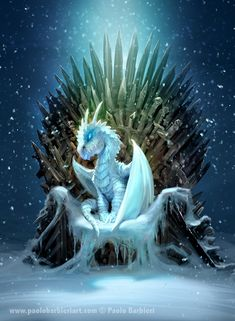 GAMES OF THRONES & ICE DRAGON (TRIBUTE TO GEORGE MARTIN) Paolo Barbieri Art