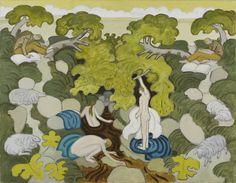 Margot Sandeman, Bathers by a Gorge, oil on canvas, 1988, 92x71cm