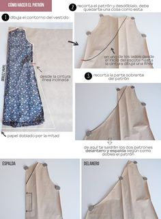 miscelánea diy: DIY | Vestido cruzado con lazo en la cintura (Wrap dress) Skirt Patterns Sewing, Sewing Patterns Free, Clothing Patterns, Sewing Clothes, Diy Clothes, Diy Dress, Wrap Dress, Diy Vestido, Corset Pattern