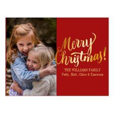 Personalized Merry Christmas Photo Postcard - merry christmas postcards postal family xmas card holidays diy personalize
