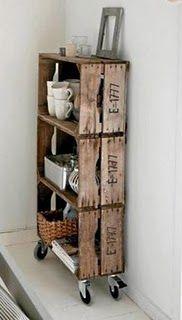 wheels + fruit or soda crates = a cool shelf