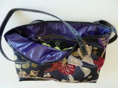 tapestry shopping tote with faux linning and details #faux leather #purses #jackie robbins
