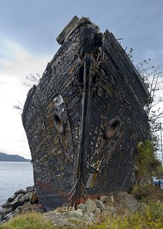 The four masted schooner La Merced ended her days of service hard aground in Anacortes,WA providing protection for a small marina.