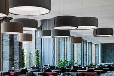 Silenzio by Monica Armani utilizes the sound absorbing properties of Kvadrat fabric to dampen ambient noise, providing acoustic comfort. High End Lighting, Suspended Lighting, Luce Plan, Interior Styling, Interior Design, Hospitality Design, Exterior Lighting, Commercial Design, Restaurant Design