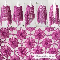Chal con grannies tejido a crochet: muchas formas de usarlo! Video del paso a paso