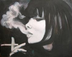 "Saatchi Art Artist Emil Valev; Painting, ""girl smoking"" #art More More"