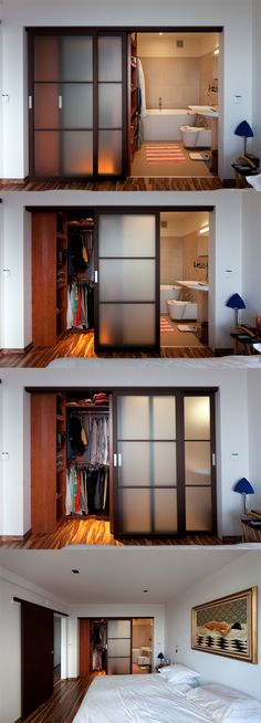 Inspiring Design Of Locker Room In The Bedroom 2018 Considering on locker room design in a small space bedroom could be a hard problem to solve. You should find ideas and inspirations on it carefully. Small Space Bedroom, Small Spaces, Bedroom Wardrobe, Master Bedroom, Master Bath, En Suite Bedroom, Diy Bedroom, Wardrobe Doors, Bedroom Door Design