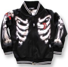 100% full of attitude and beyond cool! These Six Bunnies varsity inspired black skeleton jackets are pure rockabilly punk rock and goth. Buy Online in Australia Six Bunnies Skeleton Bones Jacket Varsity Style Jacket