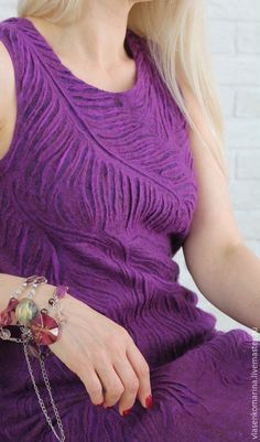 Купить Платье валяное Аметист - фиолетовый, абстрактный, платье валяное, шерстяное платье, красивое платье