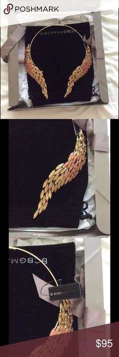 BCBGMAXAZRIA gold ombré open collar necklace New with tag  Brand: BCBGMAXAZRIA   Collar necklace. Thinly-banded strand. Prong-set faceted ombre stones at ends. Open at center. Material: Copper alloy, Acrylic.  Comes with box and dust bag. BCBGMaxAzria Jewelry Necklaces