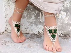 Barefoot Sandles, Crochet nude shoes, Tan Purple Lilac barefoot sandals, sexy,  yoga, anklet , steampunk sandals, beach pool. €10.00, via Etsy.