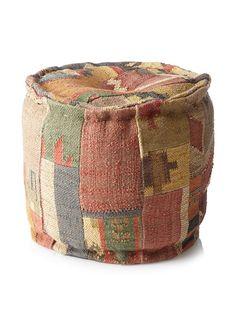 Boheme Collection Patchwook Wool Jute Pouf, Multi, http://www.myhabit.com/redirect/ref=qd_sw_dp_pi_li?url=http%3A%2F%2Fwww.myhabit.com%2Fdp%2FB00FP2JUDG