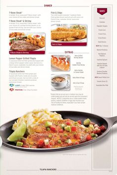 Very bright menus with brightly lit food to match