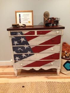 American flag dresser - this would work instead of buying a new long dresser.